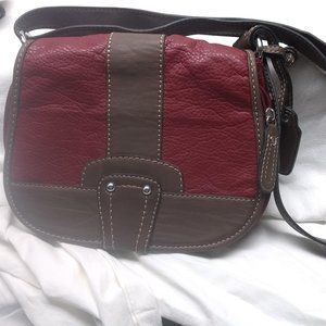 ST. JOHN'S BAY Red and Brown Leather Purse Handbag